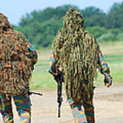 Two Snipers Of The Belgian Army Dressed Print by Luc De Jaeger