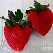 Two Strawberries On A Glass Plate Art Print
