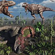 Two T. Rex Dinosaurs Confront Each Art Print by Mark Stevenson