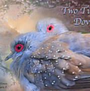 Two Turtle Doves Card Art Print