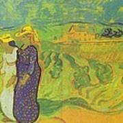 Two Women Crossing The Fields Art Print