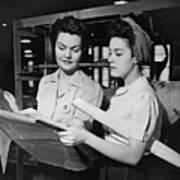 Two Women In Workshop Looking At Blueprints, (b&w) Art Print by George Marks