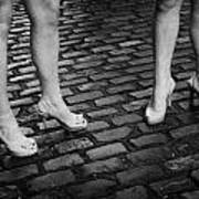 Two Young Women Wearing High Heeled Shoes And Fake Tan On Cobblestones On A Night Out In Dublin  Art Print