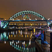 Tyne Bridge At Night Art Print