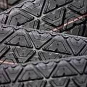 Tyres Stacked With Focus Depth Art Print