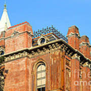 Uc Berkeley . South Hall . Oldest Building At Uc Berkeley . Built 1873 . The Campanile In The Backgr Art Print