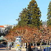 Uc Berkeley . Sproul Plaza . Sather Gate And Campanile Tower . 7d9996 Art Print
