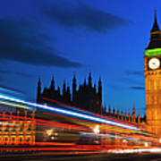 Uk, England, London, Big Ben And Light Trails At Night Art Print