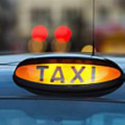 Uk, England, London, Sign On Taxi Cab Art Print