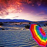 Umbrella On Desert Sands Art Print by Garry Gay