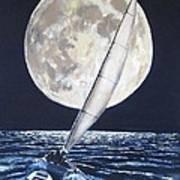 Under Full Sail..under Full Moon Art Print by Jack Skinner