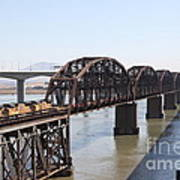 Union Pacific Locomotive Trains Riding Atop The Old Benicia-martinez Train Bridge . 5d18849 Art Print