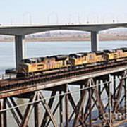 Union Pacific Locomotive Trains Riding Atop The Old Benicia-martinez Train Bridge . 5d18851 Art Print