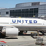 United Airlines Jet Airplane At San Francisco Sfo International Airport - 5d17109 Art Print