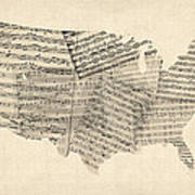 United States Old Sheet Music Map Art Print by Michael Tompsett