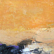 Untitled Abstract - Amber Peach  With Violet Art Print