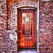 Urban Door In Old Brick Building Art Print