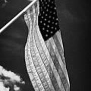 Us American Flag On Flagpole Against Blue Cloudy Sky Usa Art Print by Joe Fox
