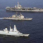 U.s. And French Navy Ships Transit Art Print