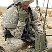 U.s. Army Soldier Performs A Radio Art Print by Stocktrek Images