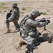 U.s. Army Soldier Sets Up A Satellite Art Print