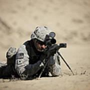 U.s. Army Soldier Sights In A Barrett Art Print