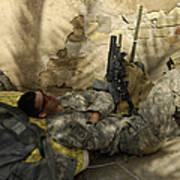 U.s. Army Specialist Takes A Nap Art Print