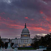 Us Capitol - Pink Sky Getting Ready Art Print