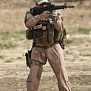 U.s. Contractor Firing A M4 Carbine Art Print