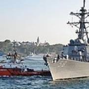 Us Cruiser Docking In Istanbul Art Print