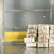 Us Dollar Bills In A Bank Cart Art Print
