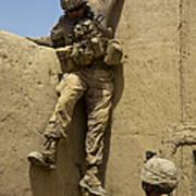 U.s. Marine Climbs Down From An Art Print