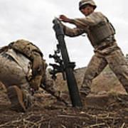 U.s. Marine Drops A Mortar Round Art Print