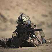 U.s. Marine Sights In A Barrett M82a1 Art Print