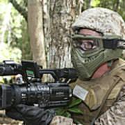 U.s. Marine Videotapes Combat Exercises Art Print