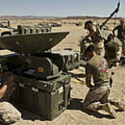 U.s. Marines Assemble A Satellite Dish Art Print