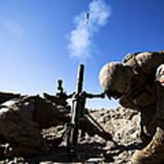 U.s. Marines Brace Themselves While Art Print