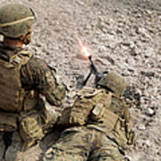 U.s. Marines Provide Suppressive Fire Art Print