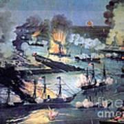 U.s. Navy Destroys Rebel Gunboats Art Print