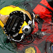 U.s. Navy Diver Is Lowered Art Print by Stocktrek Images