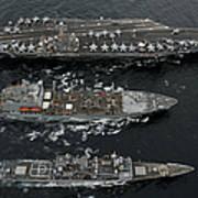U.s. Navy Ships Conduct A Replenishment Art Print
