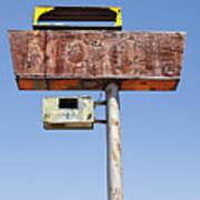 Usa, Arizona, Wakeup, Low Angle View Of Rusted Motel Sign Art Print