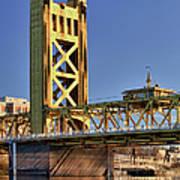 Usa, California, Sacramento, Tower Bridge Over Sacramento River Art Print