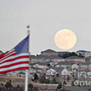 Usa Flag And Moon Art Print