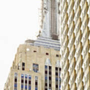 Usa, New York City, Detail Of Empire State Building Art Print