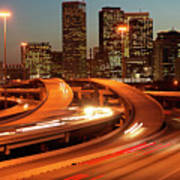 Usa, Texas, Houston City Skyline And Motorway, Dusk (long Exposure) Art Print