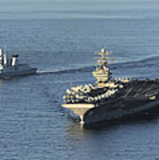 Uss Abraham Lincoln And French Navy Art Print