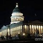 Utah Capitol At Night Art Print by Gary Whitton