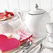 Valentine Cookies With Teapot And Cups Print by Sandra Cunningham