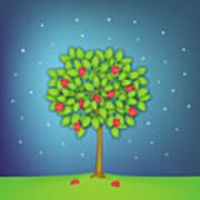 Valentine Tree With Hearts And Stars Art Print